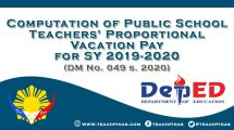 Computation of Public School Teachers' Proportional Vacation Pay for SY 2019-2020