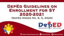DepEd Guidelines on Enrollment for SY 2002-2021