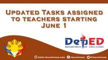 Updated Tasks assigned to teachers starting June 1
