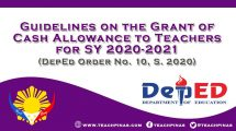 Guidelines on the Grant of Cash Allowance to Teachers for SY 2020-2021