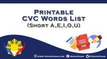 Printable CVC Words List