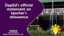 DepEd's Official Statement on Teachers' Allowance