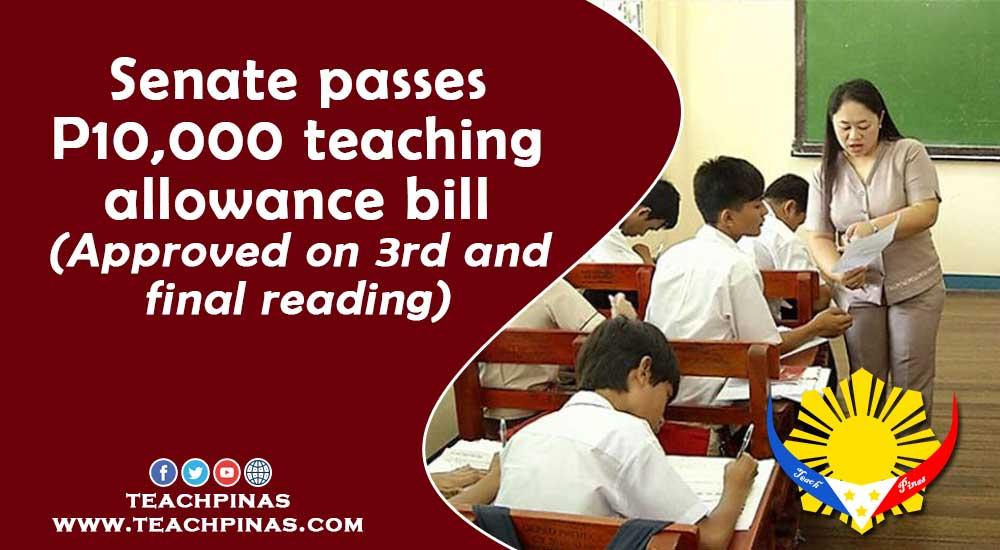Senate passes 10k teaching allowance bill