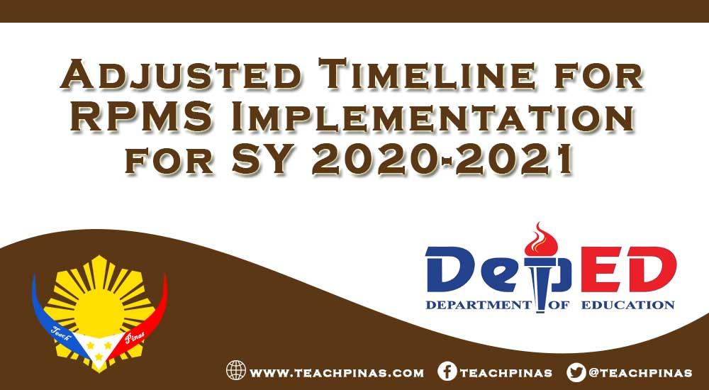 Adjusted Timeline for RPMS Implementation for SY 2020-2021