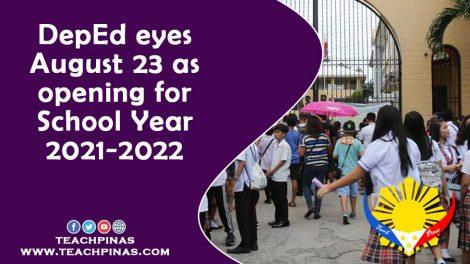 DepEd eyes August 23 as opening for SY 2021-2022